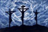 Cruz de Jesus e dos dois ladrões. Dimas, o bom ladrão. Gestas, o mau ladrão.